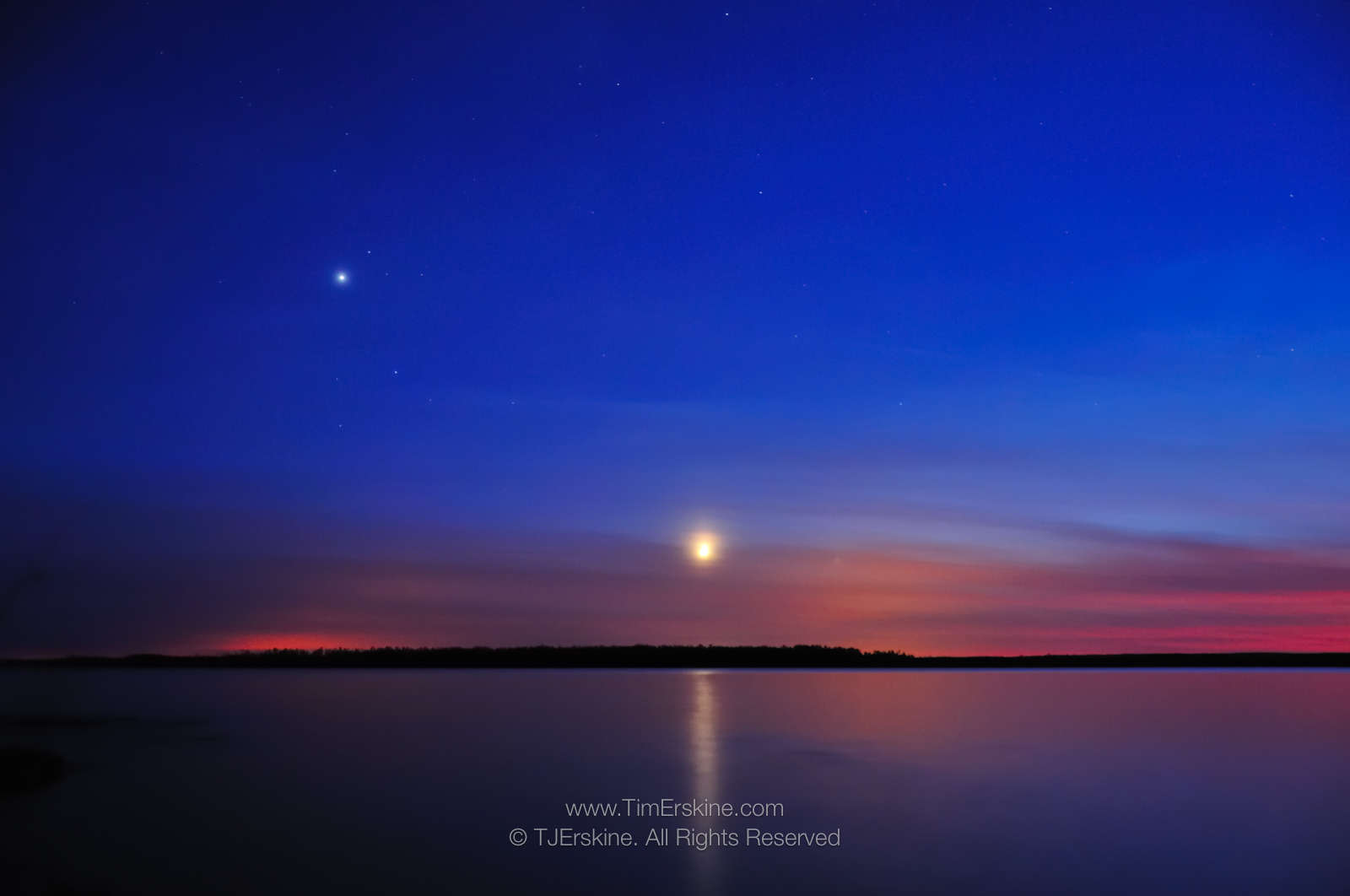 Moonlight Bay Sunset with Moon, Venus and Stars